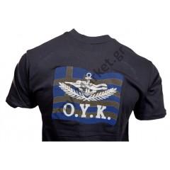 Μπλουζάκι Κέντημα Ο.Υ.Κ Σημαία Φαιοπράσινο GF